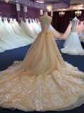 Prinzessin Champagne Strapless Tulle/Spitze-Hochzeits-Kleider