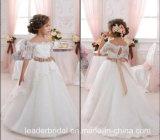 Платье F1715 девушки цветка венчания шнурка мантии шарика торжества девушки