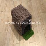 Base pequena da gaiola do gato do cão da casa do animal de estimação do fabricante cinzento