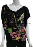 고무 인쇄를 가진 여자를 위한 느슨한 Bat-Wing 소매 검정 t-셔츠