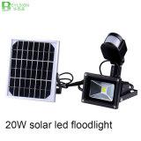 lámpara solar de la luz de inundación de 20W LED con el sensor de movimiento de PIR
