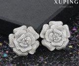 Pendiente de lujo de la flor del Zircon de la joyería de la boda de 28420 maneras Inrhodium-Plateado