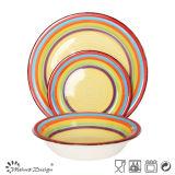 le modèle peint à la main d'arc-en-ciel de jeu de dîner 18PCS avec Shinny la couleur
