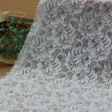 白いナイロン衣類および服のためのジャカードによって編まれるレースファブリック