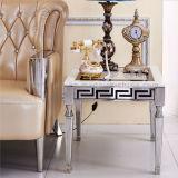 Modernes Edelstahl-Bein-oberstes materielles Marmorquadrat widergespiegelter seitlicher Tisch