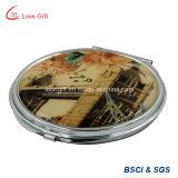 Beau miroir de produit de beauté de vanité en métal d'or de pierre gemme