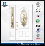 Porte d'entrée en bois de fibre de verre de regard de double lame