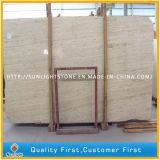 床の壁のタイルのための自然な磨かれたベージュ黄色い大理石のTravertine