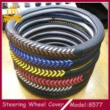 Mão - tampa de roda feita malha feita da direção do carro do couro genuíno