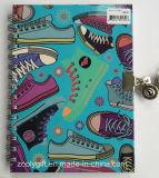 Taccuino duro personalizzato del diario del coperchio di spirale del doppio di stampa con la serratura