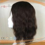 Da onda frouxa humana brasileira do cabelo de 100% Toupee baixo da borda do plutônio da parte dianteira do laço Remy mono