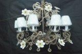 Bronze luxuoso com a lâmpada do pendente da decoração do cristal & do Lampshade (MD0909-10)