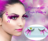 Moda Cosméticos Criativos Eyelash Stage Cosplay Pink Feather Fais Cílios