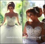 Kristallbrautballkleid-lange Hülsen, die neues Hochzeits-Kleid Z2016 bördeln