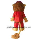 Traje animal da mascote do leão vermelho do vestido