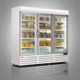 Três Showcase ereto de vidro vertical do refrigerador 1500liter da porta da porta