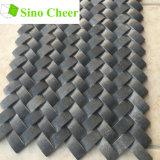 Tuile de mosaïque de pierre de noir d'armure de panier pour la cuisine