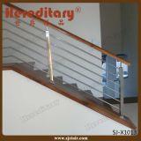 Balaustrada de Rod do aço inoxidável com o corrimão de madeira nas peças da escada (SJ-X1014)