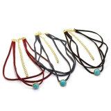 3 Halsbanden van de Nauwsluitende halsketting van de Steen van het Leer van kleuren Multilayer Natuurlijke