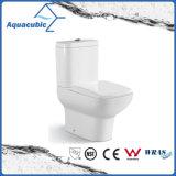 Siphonic en deux pièces conjuguent la toilette avant ronde affleurante de cuvette (ACT7303)