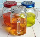 Tarro de masón con la tira de la tapa del color de la maneta de botella de cristal de cristalería