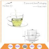 jogo de vidro do copo de café da caneca 150ml clássica simples