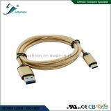Cavo del USB con la testa di Matel dell'oro e la treccia variopinta doppia Transmsion ad alta velocità e caricarsi