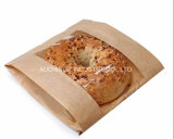 Zak van Packging van het Brood van het Document van Kraftpapier van de douane de Goedkope met het Venster van pvc