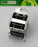 Conector USB 2.0, Serie A, la platina doble, ángulo recto Tipo A través del agujero