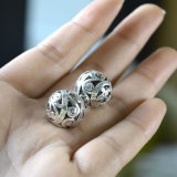 Os grânulos redondos couberam grânulos europeus chapeados prata do espaçador do furo pequeno das colares dos braceletes de DIY