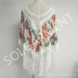 熱いSale Women (SOI1739)のためのTasselの3/4 Sleeves Crochet Printing Blouse