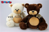 Prix de gros Plush Stuffed Big Tummy Teddy Bear Toy avec Ribbon dans Beige et Brown Color