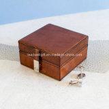 Caixa de couro do parafuso prisioneiro com caso do armazenamento da caixa de relógio da jóia do fecho do cromo