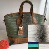 2016ハンドバッグのためのレトロのトカゲの質PUの革