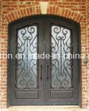 緩和されたガラスが付いている外部デザイン錬鉄の複式記入のドア