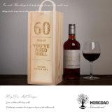 Hongdao modificó el rectángulo de almacenaje para requisitos particulares de madera grabado del regalo del vino del color natural de la insignia con el _E de la maneta