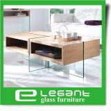 Mesa de centro de folheado de madeira Akiyama Ash com pernas de vidro temperado