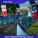 Напольным знамена флага полета при ветре изготовленный на заказ напечатанные логосом