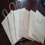 Bolso de tienda de comestibles del papel de Brown Kraft con el papel impermeable a la grasa
