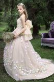 Шикарный белый полнометражный a - линия платья венчания втулки шнурка V-Back Neckline шлюпки длинние с отделяемым поездом (LD1018)