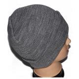 Sombrero gris de encargo de la gorrita tejida del paño grueso y suave del casquillo del invierno para los hombres
