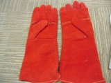 赤い牛そぎ皮の溶接工の手袋Dlw635