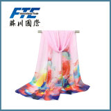 Écharpe Chiffon de ressort d'infini de Madame Fashion Flower Printed Silk