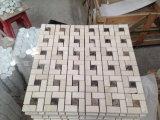 Mattonelle di mosaico di marmo di Crema Marfil Basketweave