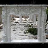 Cheminée blanche Mfp-166 de Carrare de cheminée en pierre de marbre de granit