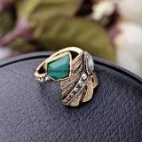 Retro 우아한 합금 여자를 위한 다이아몬드에 의하여 장식용 목을 박는 반지 잎 모양 수정같은 보석