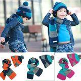 Шерсти шлема малыша мальчиков ребёнков зимы Yonger связали установленный шарф крышки Beanie вязания крючком (HW603S)