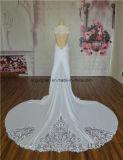 Платье венчания украшения шнурка Illsion типа пляжа шифоновое заднее
