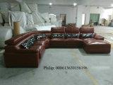 U-Form-Schwarz-Farben-echtes Leder-Sofa (301)