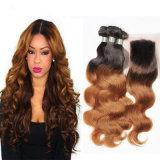 1b 30 27 Brasilianer-Karosserien-Welle Ombre Haar-blonde brasilianische Haar-Webart